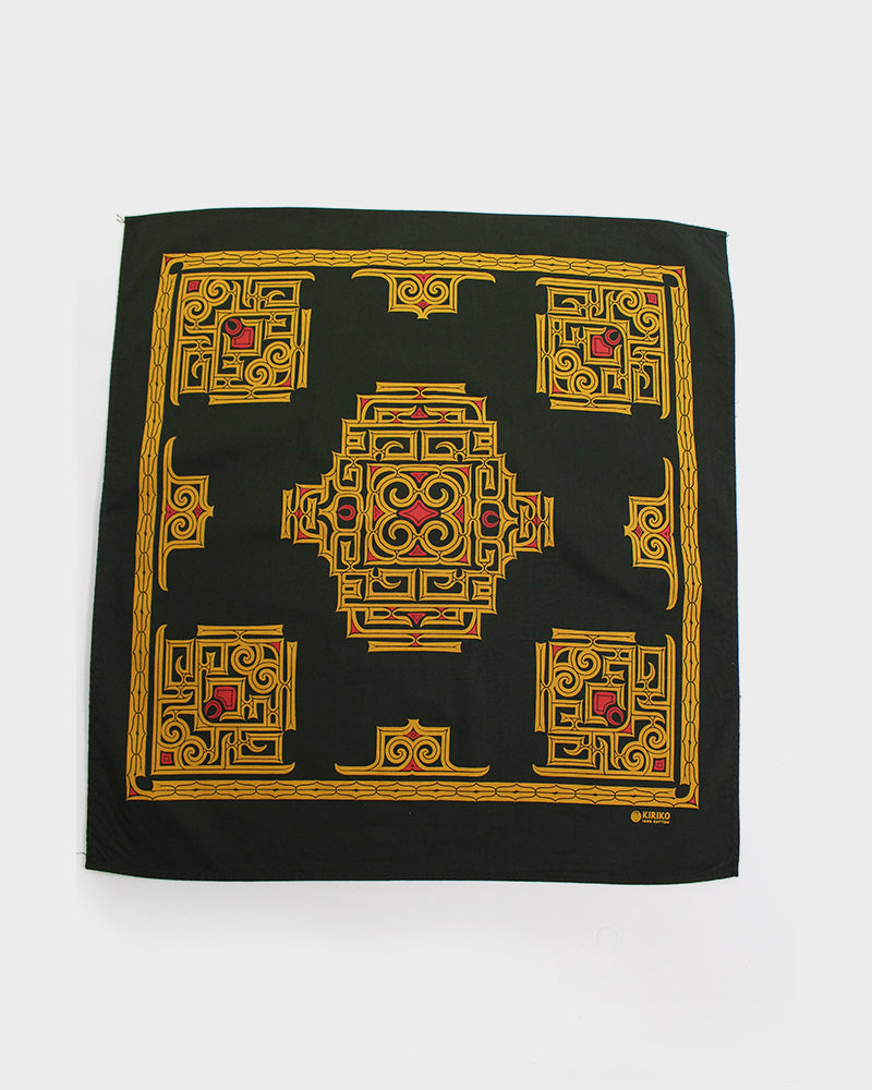 Custom-Dyed Bandana Aimirucha Two-Tone, Ainu with Red and Gold