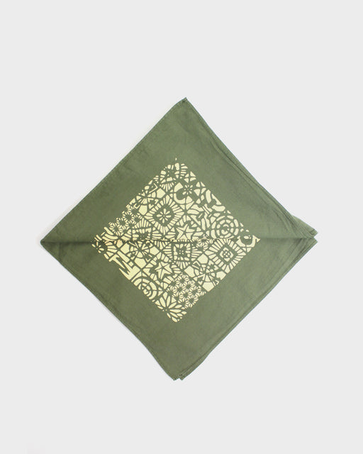 Two Tone Custom-Dyed Bandana, Rikyucha, Katazome Grid