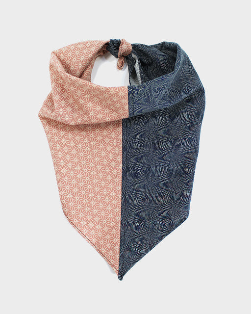 Split Bandana, Salmon Asonoha and Indigo Same