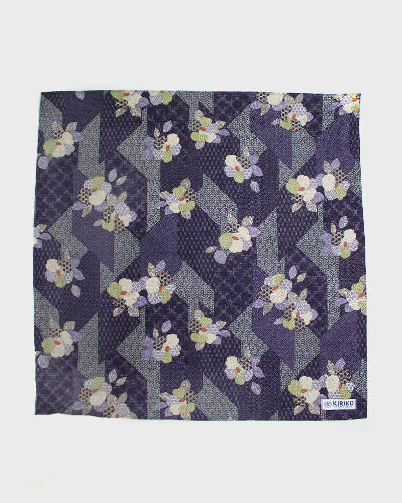 Bandana, Purple Patchwork Style, Flowers