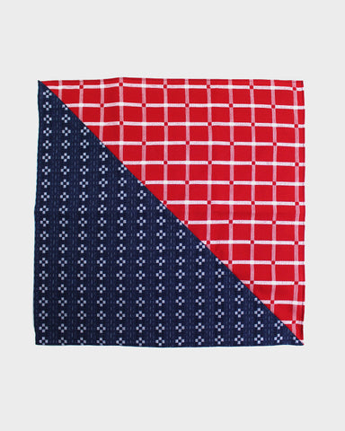 Bandana Indigo Kasuri Grid and Red Squares Split