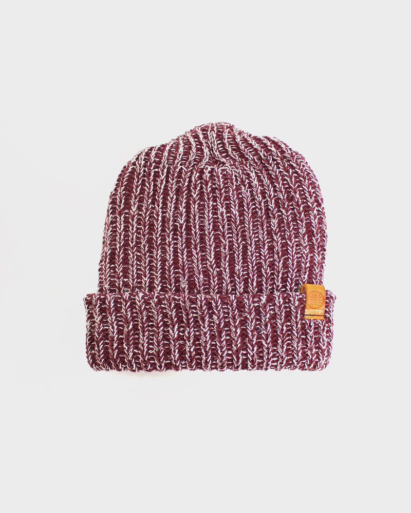 Knit Cap Burgundy and Natural
