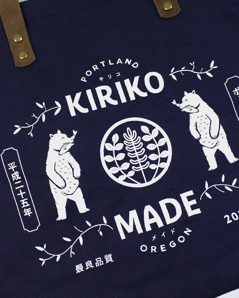 Kiriko Bear Small Canvas Tote, Navy