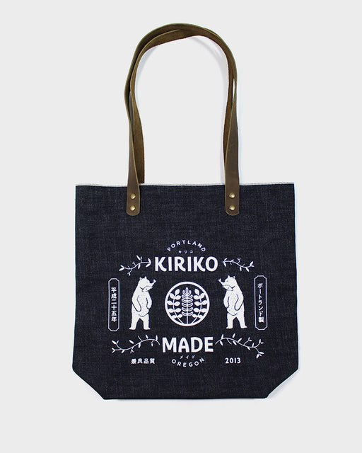 Kiriko Bear Small Denim Tote, Navy