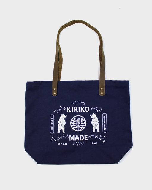 Kiriko Bear Large Canvas Tote, Navy