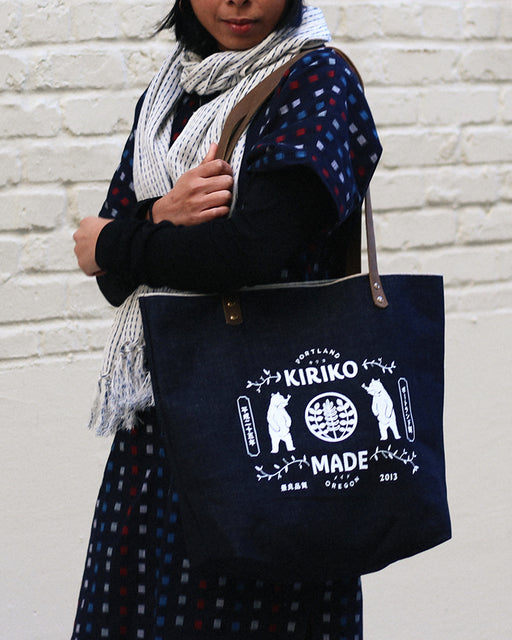 Kiriko Bear Large Denim Tote, Navy