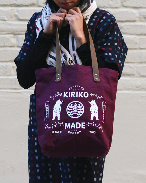 Kiriko Bear Small Canvas Tote, Burgundy