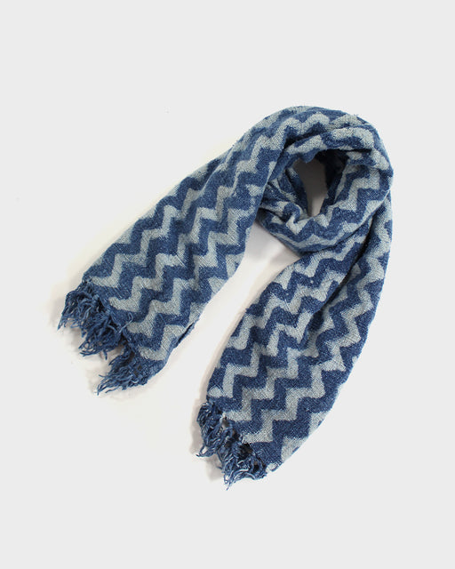 Indian Scarf, Indigo Chevron