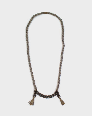 Boet X Kiriko Necklace, Taupe Silk, Vintage Chain and Tassels