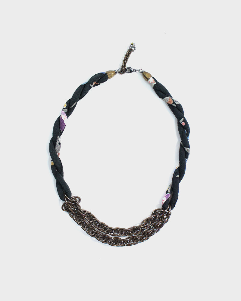 Boet X Kiriko Collar Necklace, Silk Faded Black with Floral