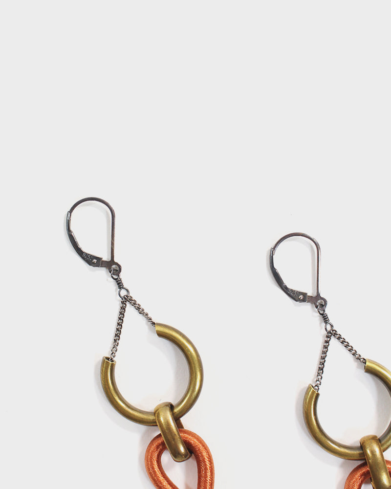 Boet, Lux Earrings, Orange and Grey
