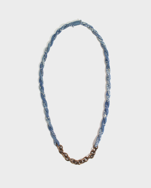 Boet X Kiriko Boro Necklace, Light Indigo and White Katazome