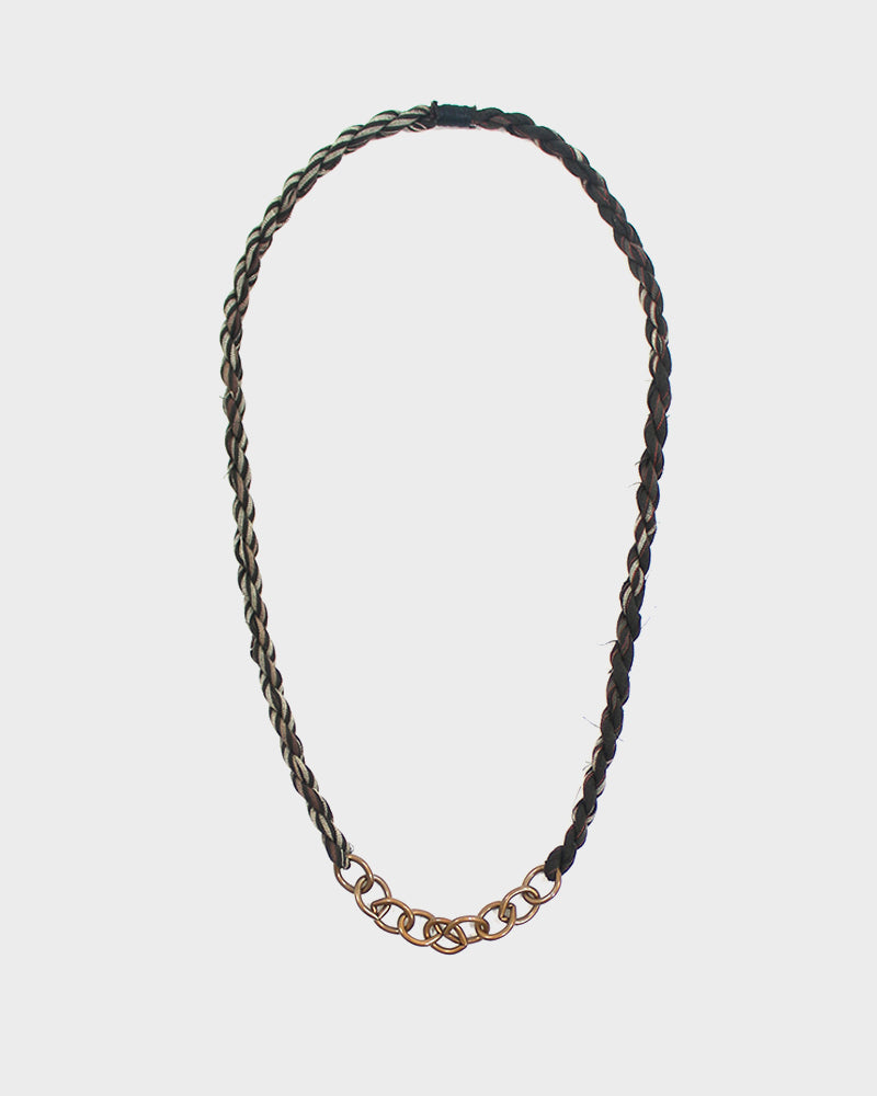 Boet X Kiriko Necklace, Faded Black, Red and White Shima, Large Chain