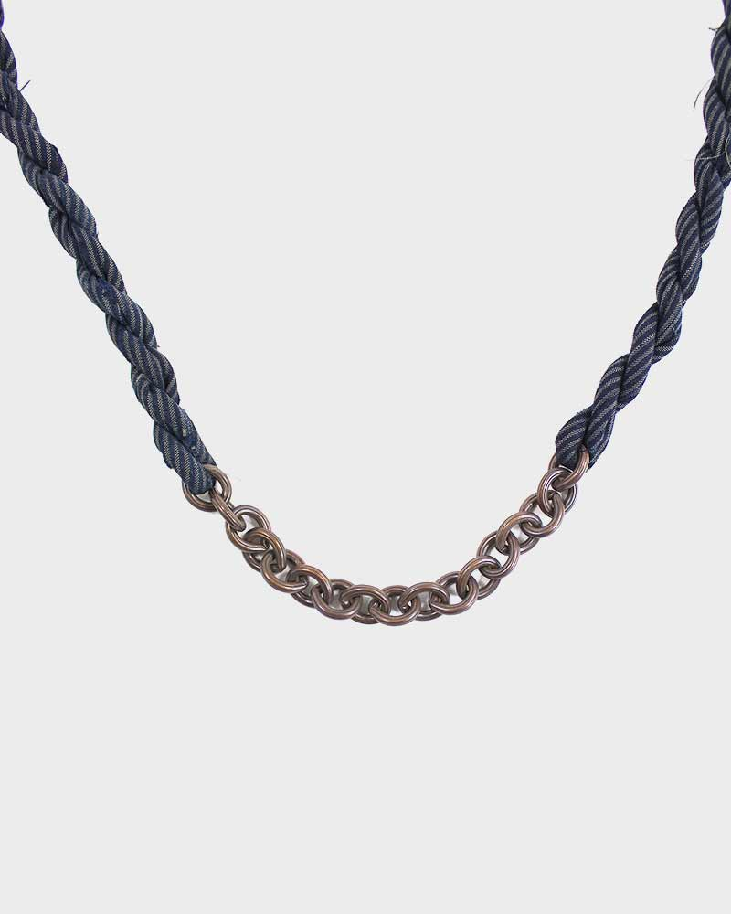 Boet X Kiriko Boro Necklace, Indigo with Tan Skinny Shima