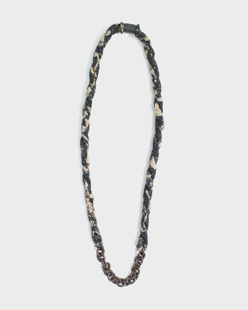 Boet X Kiriko Boro Necklace, Charcoal with Katazome