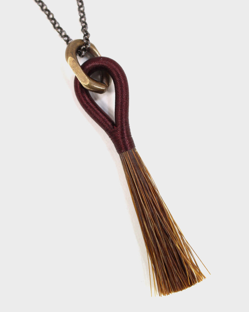 Boet Necklace, Horse Tassel Burgundy and Chestnut