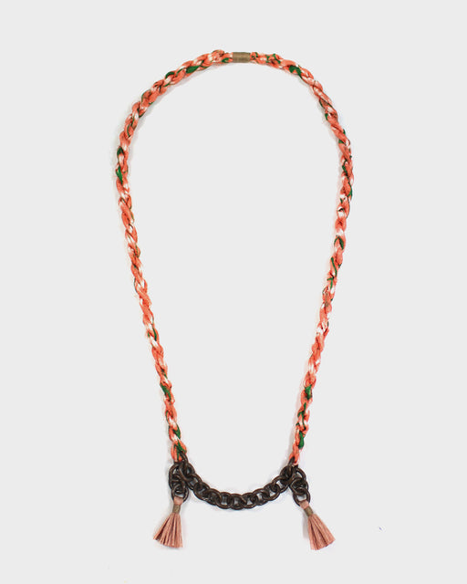 Boet X Kiriko Necklace, Peach and Green Silk, Vintage Chain and Tassels