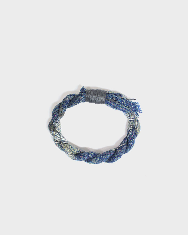 Boet X Kiriko, Light Indigo, Cream and Tan Boro Bracelet