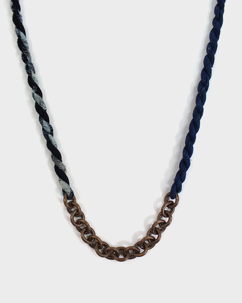 Boet X Kiriko Necklace, Kasuri Dark Indigo Boro Split and Vintage Chain