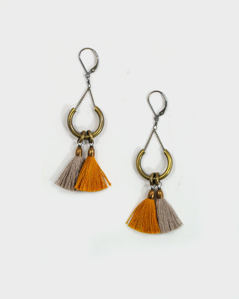 Boet Earrings, Double Duster, Gold and Dune