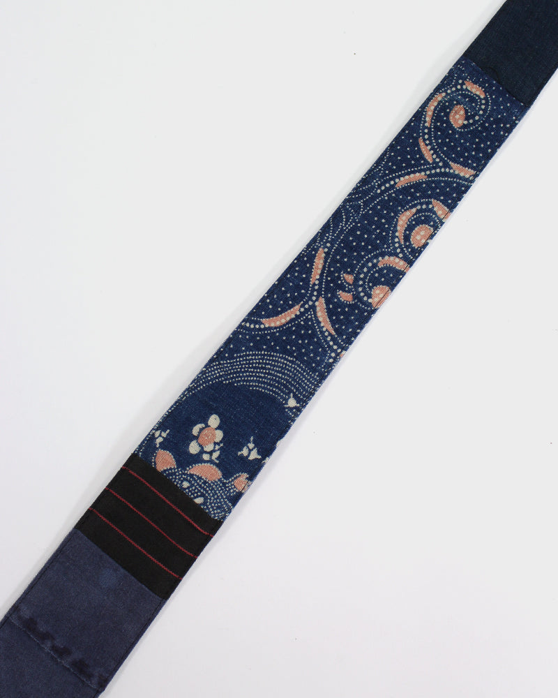 Boro Tie, Katazome, Black and Red Shima and Indigo Boro