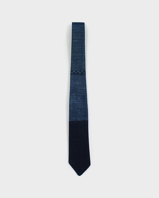 Boro Tie, Split Indigo with Sashiko