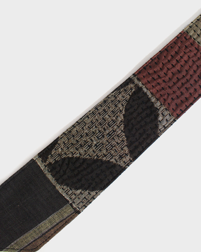 Sashiko Boro Tie, Brown and Rust, Indigo and Tan Shima
