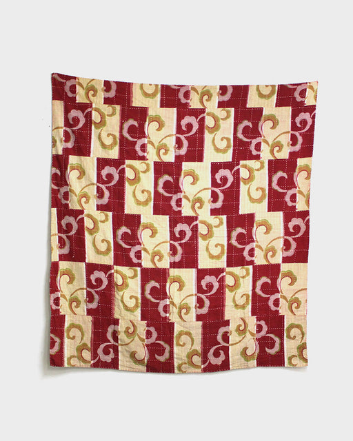 Vintage Boro Blanket, Red and Yellow Squares with Vines