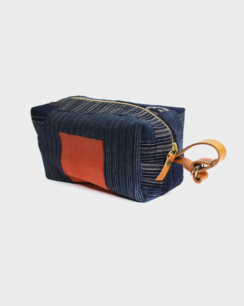 Boro Dopp Kit, Indigo with Kasuri, Shima & Red Patch