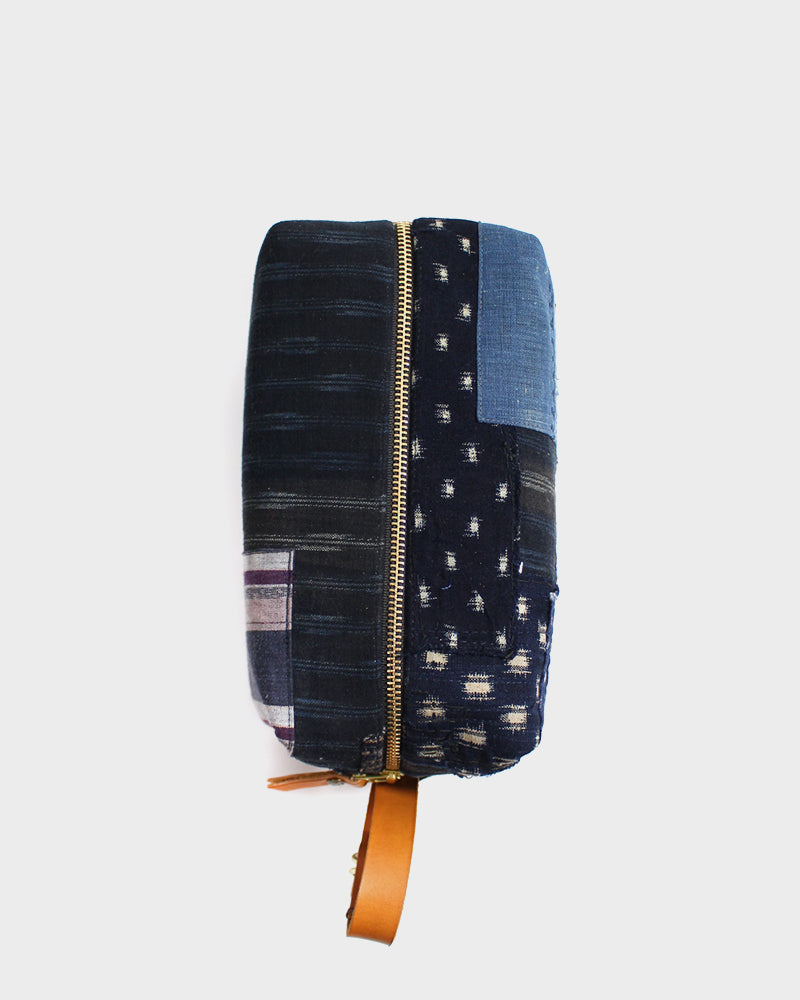 Boro Dopp Kit, Purple Shima & Cream Kasuri Dots