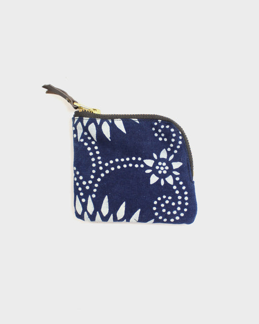 Zipper Wallet, Indigo and White, Kiku