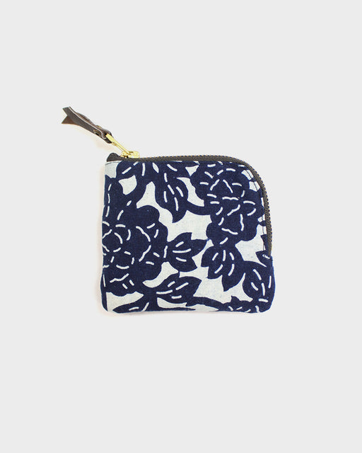 Zipper Wallet, Indigo and White, Floral