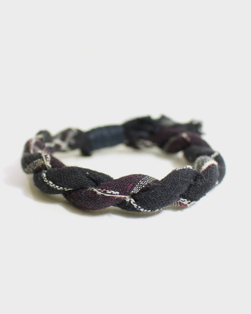 Boet X Kiriko, Black and Maroon, with Sashiko Stitching Boro Bracelet
