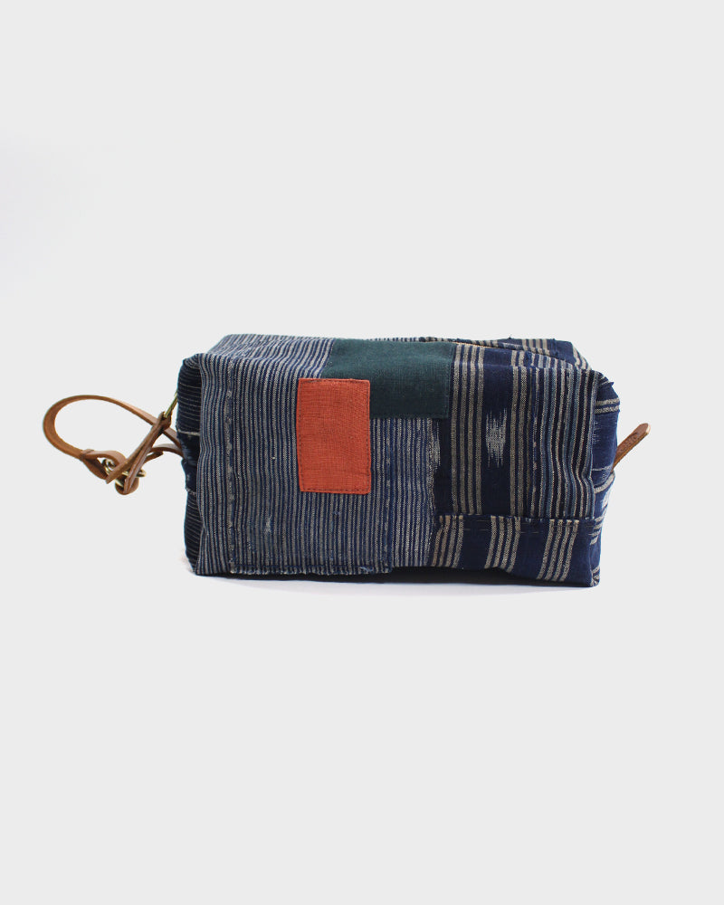 Boro Dopp Kit, Indigo Shima with Green and Red
