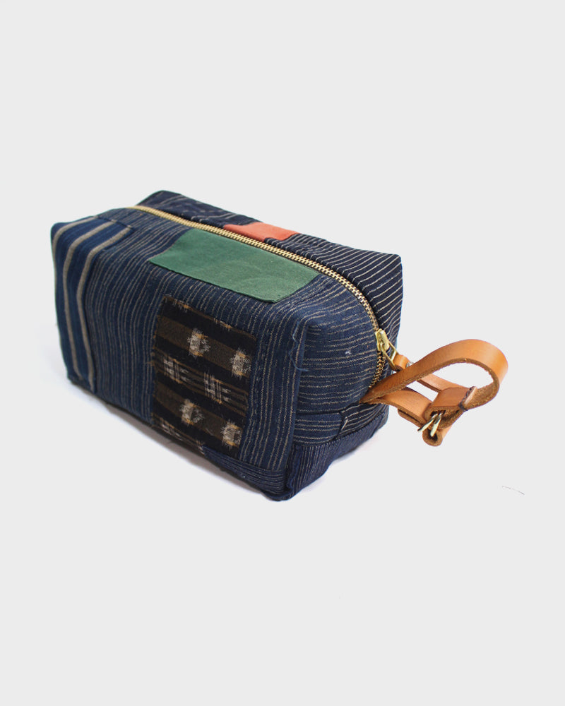Boro Dopp Kit, Green and Red with Shima and Brown Kasuri