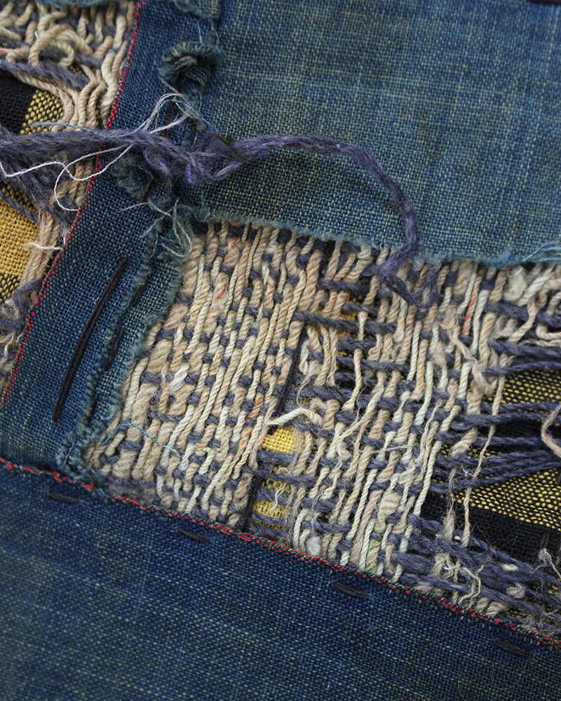 Vintage Boro Blanket, Patched Indigo and Yellow