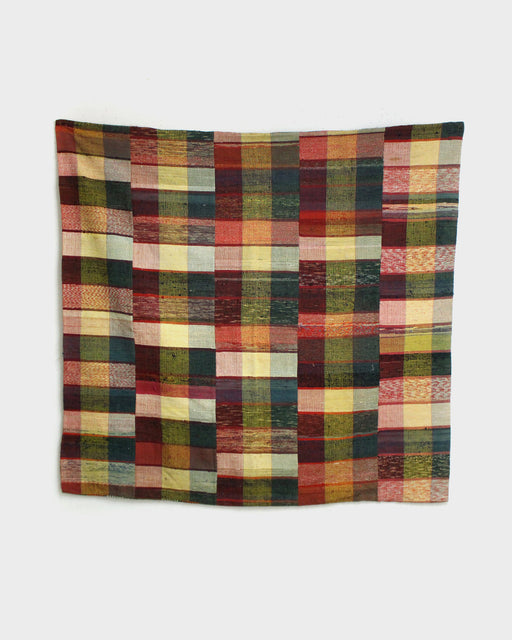 Vintage Boro Blanket, Saki-Ori with Orange and Green plaid backing