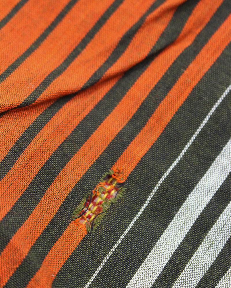 Vintage Boro Blanket, Patched Orange and Green