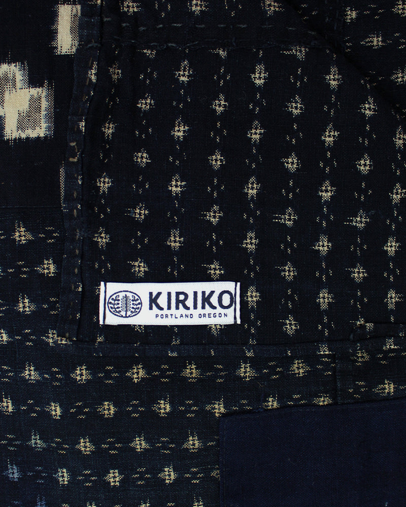 Boro Indigo Scarf, Kasuri and Kikku with Red