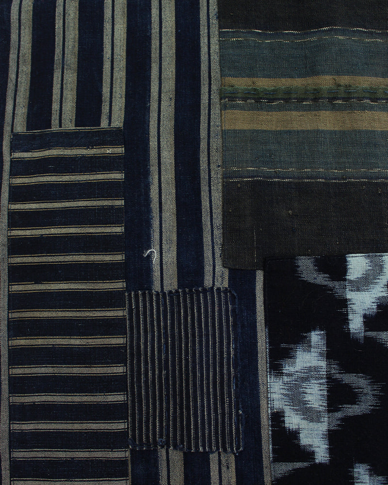 Boro Indigo Scarf, Plaid and Shima