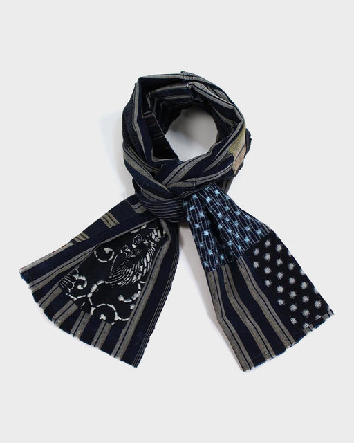 Boro Indigo Scarf, Multi Shima and Turtle