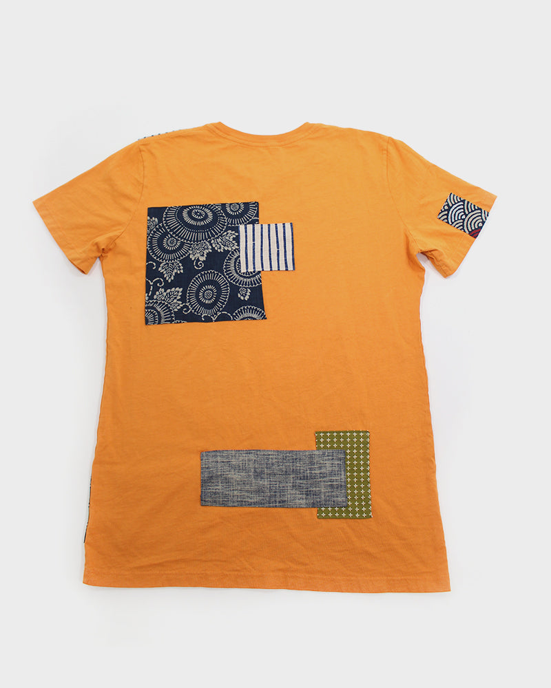 Patched Tee, Orange with Indigo Asanoha