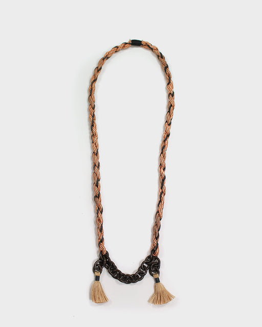 Boet X Kiriko Necklace, Black and Orange Shima Silk, Vintage Chain and Tassels