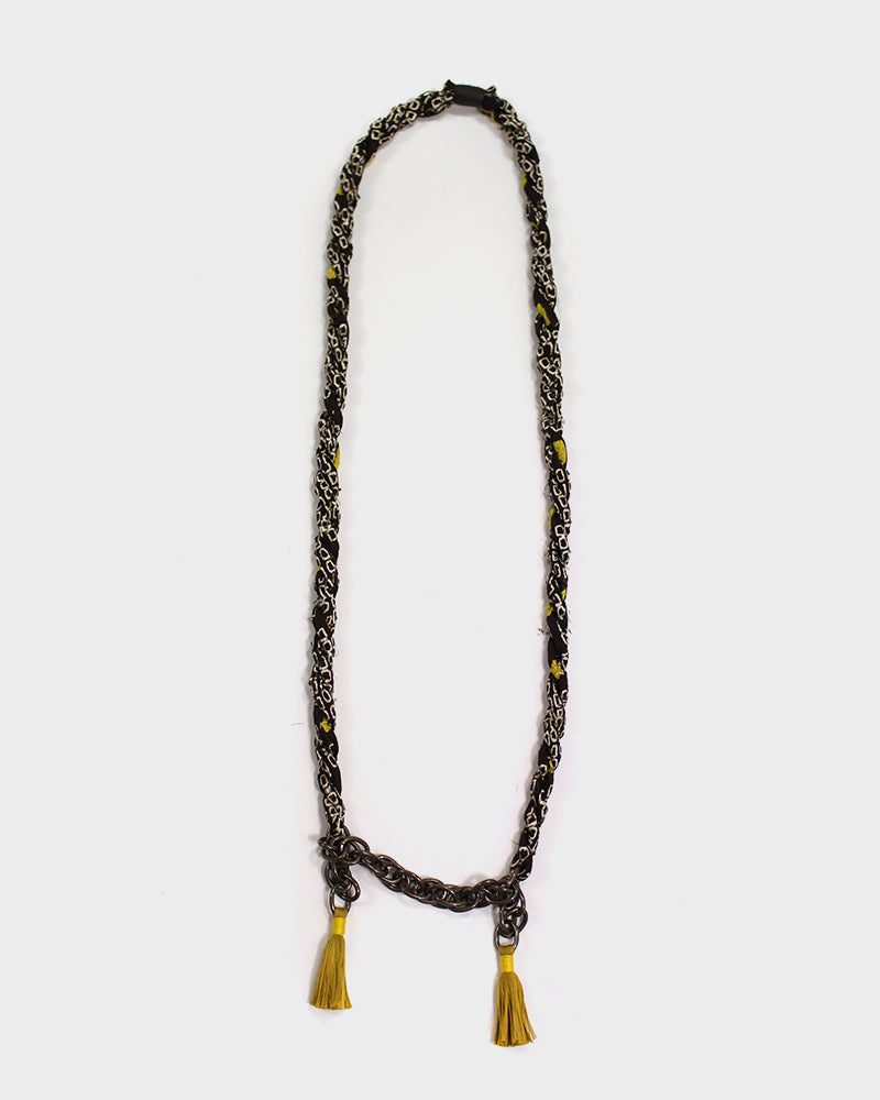 Boet X Kiriko Necklace, Yellow and Brown Shibori, Vintage Chain and Tassels