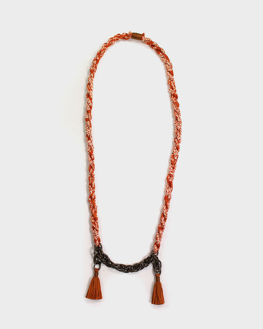 Boet X Kiriko Necklace, Orange Shibori, Vintage Chain and Tassels