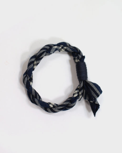 Boet X Kiriko Indigo and Cream Plaid Boro Bracelet