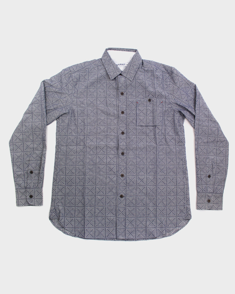 Button-Up Shirt Grey Sashiko Crosses