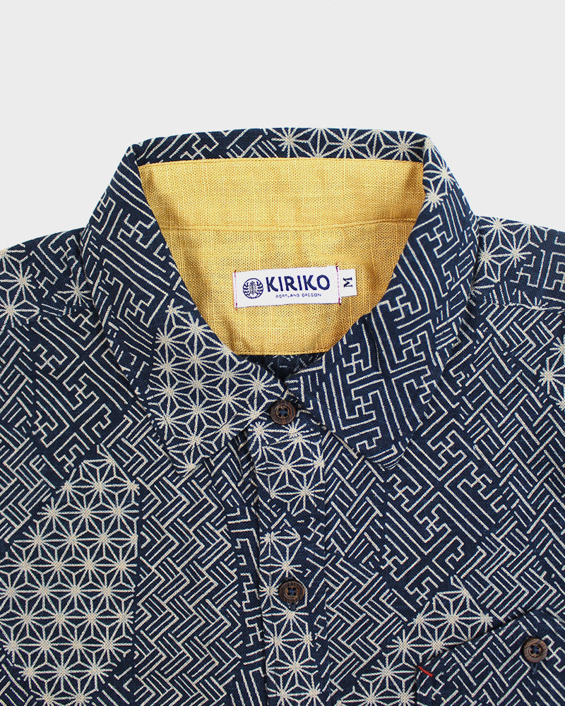 Button-Up Shirt, Long Sleeve, Indigo Multi