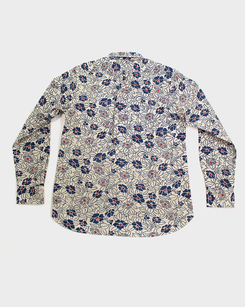 Button-Up Shirt, Long Sleeve, Cream Tsubaki