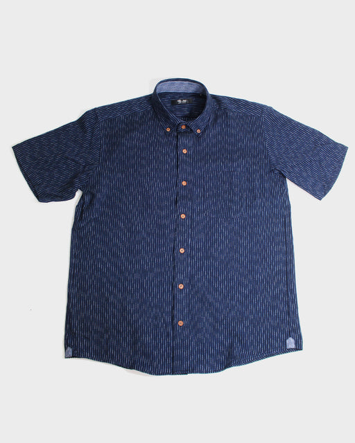 Button-Up Shirt, Nashiji-Ori & Shijira-Ori, Indigo Two-Tone Shima